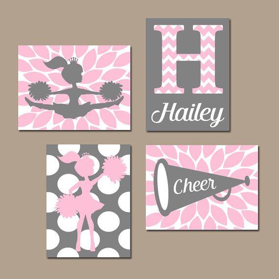 CHEERLEADER Wall Art CANVAS or Prints Pink Girl by TRMdesign