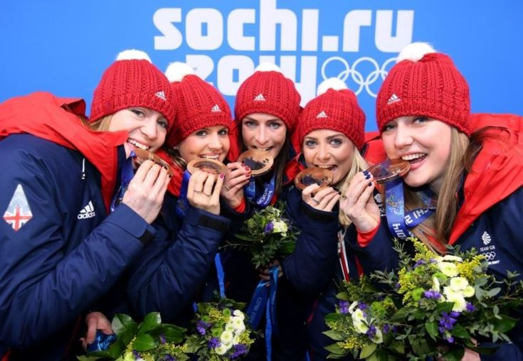 Great Britain's women's curling team, with Eve Muirhead centre, celebrate their Olympic bronze (Andrew Milligan/PA Wire)