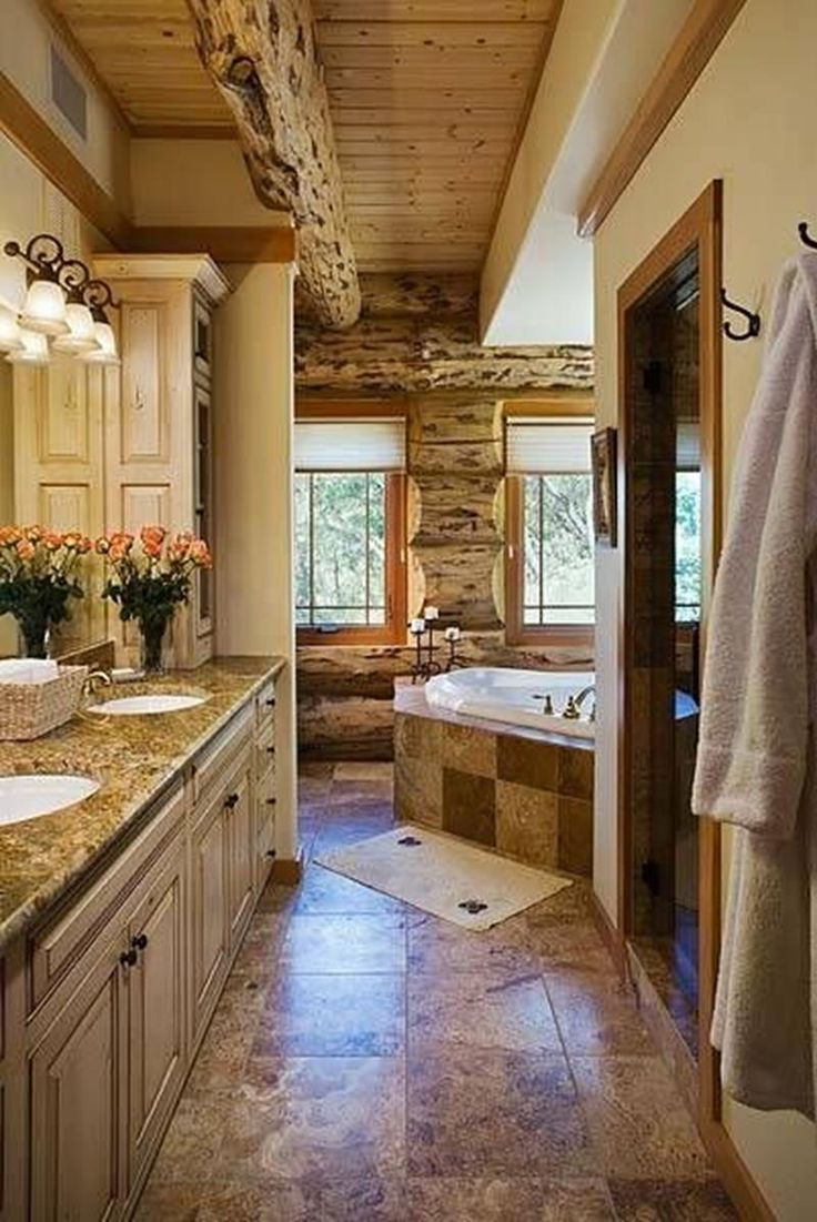 Rustic master bathroom with log walls amp undermount sink zillow digs - 24 Pictures Of An Unbelievable Colorado Log Cabin Dream Home