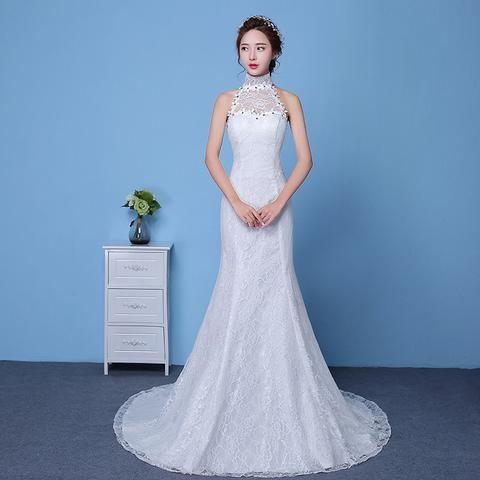 2016 Sexy Mermaid Wedding Dress Train Plus Size Vintage Lace Wedding Gowns Princess Vestido de Novia Sirena Cheap Free Shipping