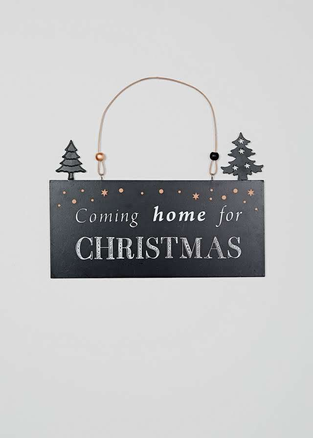 Christmas 'Coming Home' Hanging Sign (24cm x 23cm) View 1