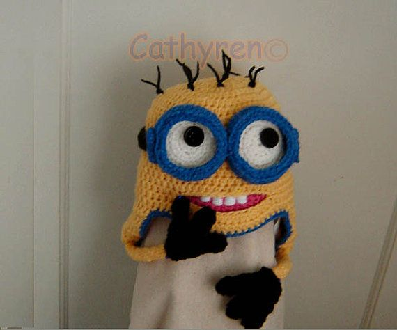 Crochet Minion Beanie Hat Pattern : Despicable Me Minion Earflap Hat, Beanie, with Goggles ...