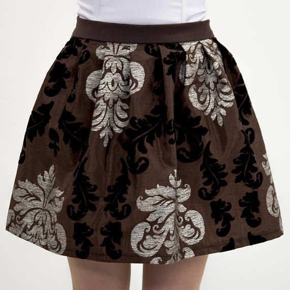 Brown steampunk skirt Baroque steampunk skirt Floral skirt