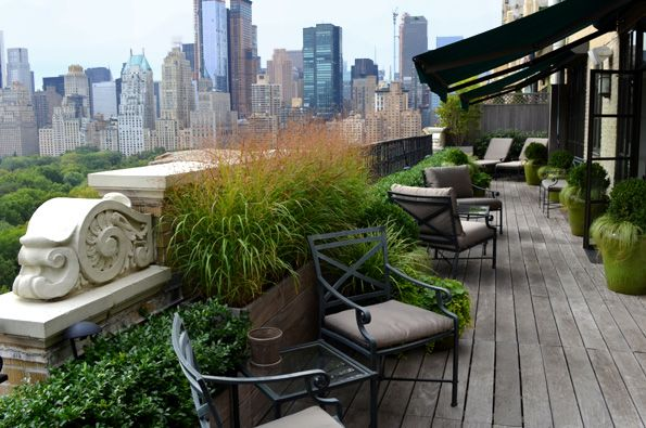 Central Park West Penthouse garden calm & serene to complement the view. Perched above Central Park, this garden focused on foliage & textures instead of flowers -- by Jeffrey Erb Landscape Design NYC