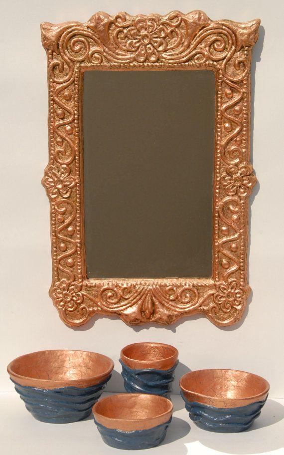Knossos II: Handmade Papier Mache Mirror Greek  - Gold leaf,Silver leaf,Copper leaf