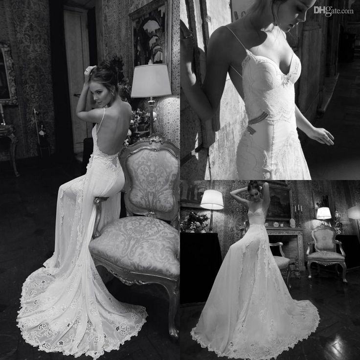 Cute Spaghetti Straps Beach Wedding Dresses Graceful Chiffon Wedding Gowns Floor length Classic Real Image Lace Mermaid Wedding Dresses Inbal Dror