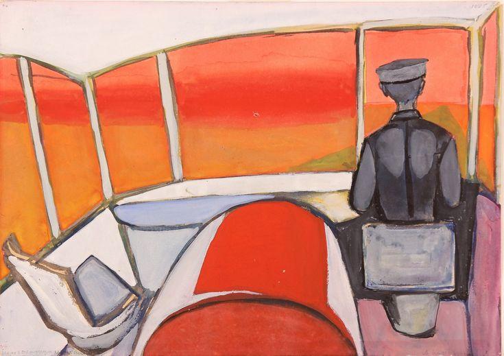 Andrzej Wróblewski (Szofer z czerwonym pejzażem), niedatowany, gwasz, papier, 30 x 42 cm, Muzeum Narodowe w Krakowie © Fundacja Andrzeja Wróblewskiego (źródło: materiały prasowe organizatora)