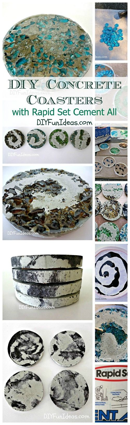 HOW TO MAKE CRUSHED GLASS & TIE-DYE CONCRETE COASTERS! from DIYFunIdeas.com