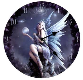 -*+An unearthly beautiful fairy with lavender hair loosely draped in a gown of diaphanous fabric and crowned in star fire graces the face of this wall clock. Takes 1 AA battery – not included. MDF base with a laminated durable vinyl face. 13″ Like this:Like Loading...