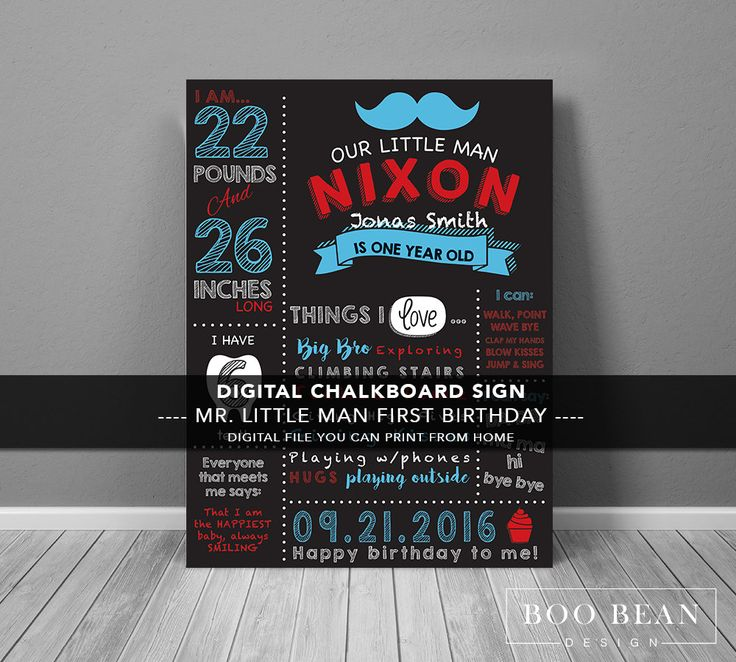 Moustache First Birthday Chalkboard | Chalkboard Sign | Personalized Poster | Printable | Birthday Chalkboard Sign | Boys Chalkboard sign by BooBeanDesign on Etsy