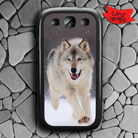 Wolf Run On White Snow Samsung Galaxy S3 Black Case