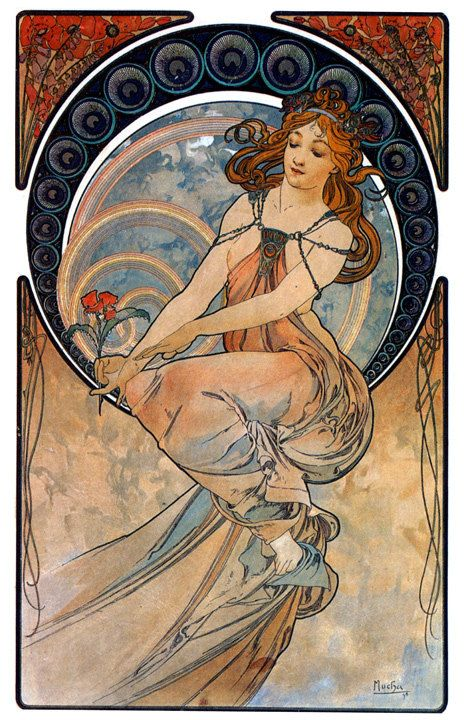 Mucha 1898 Painting Art Nouveau Giclee Print WIth Stretched Canvas Option          **Please note: additional images are shown as an example of the