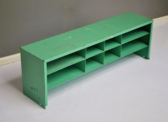 Industrial Parts Cabinet Mint Green Storage by thewhitepepper