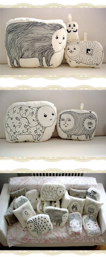Animal pillows - get David and Keri to draw animals.