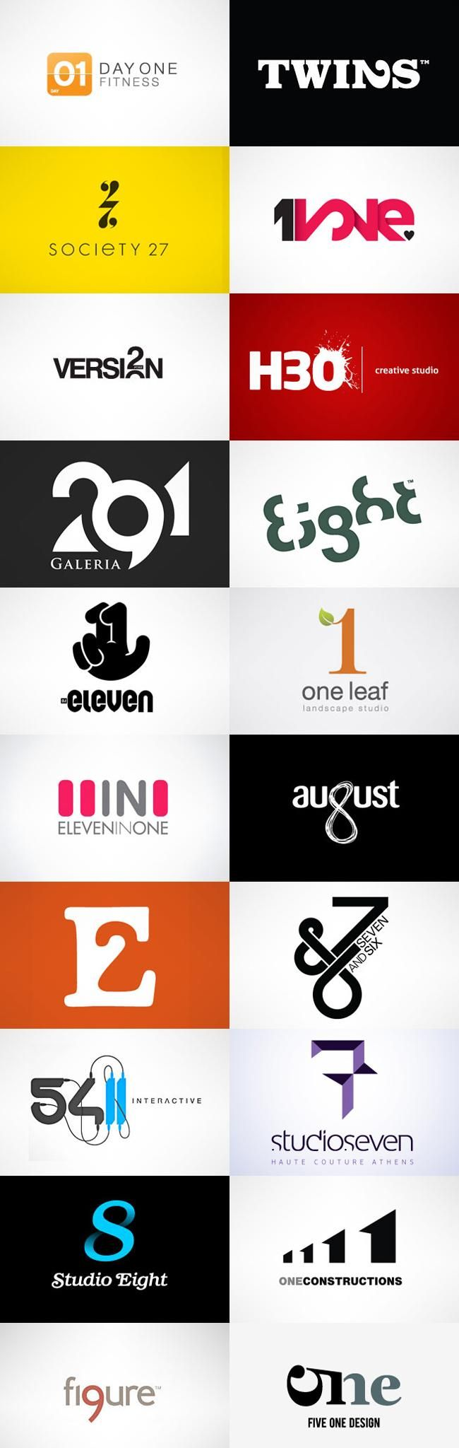 """numbers in logos"" inspiration"
