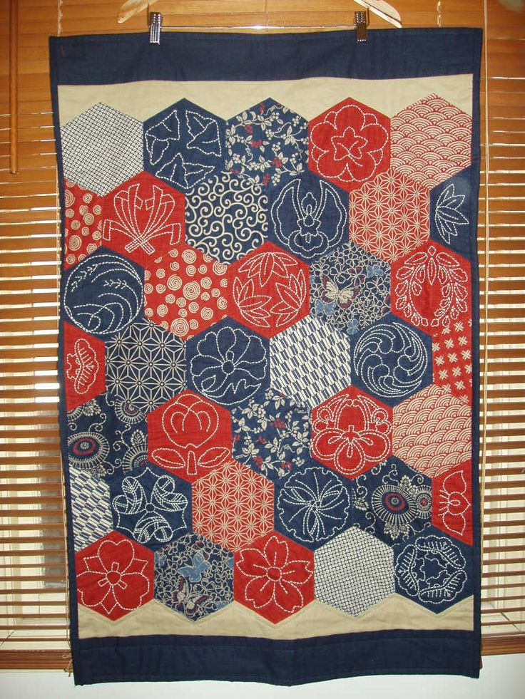 Sashiko wall quilt - hand pieced, hand quilted.