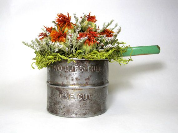 Dried Flower Arrangement, Dried Flowers, Vintage Sifter, Kitchen Decor, Dried Floral, Rustic, Primitive