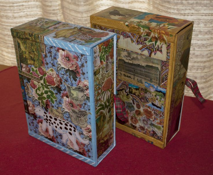 Old  filing boxes decorated with paper and paint collage
