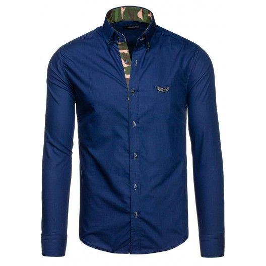 Pánska tmavomodrá košeľa s dlhým rukávom - fashionday.eu