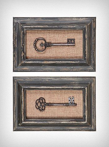 i think itd be easy to recreate them buying old frames in a thrift store and find some old keys to put in the middle i think they would look