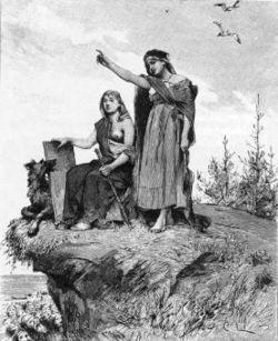 """En völva eller vala (fornisländska: vǫlva, av vǫlr, stav, trollstav) är en """"fornnordisk spåkvinna"""" som i profetisk extas skådar in i framtiden.  Flera völvor (valor) omtalas i den fornnordiska litteraturen.  Mest bekant är den sierska som uppträder i """"Valans spådom"""" (fornisländska: Vǫluspá), den inledande sången i den Poetiska Eddan.  Den beskriver världens skapelse och undergång i nordisk mytologi.  Ordet völva är en avledning av det fornnordiska ordet vǫlr, som är en slags rund stav. Man…"""