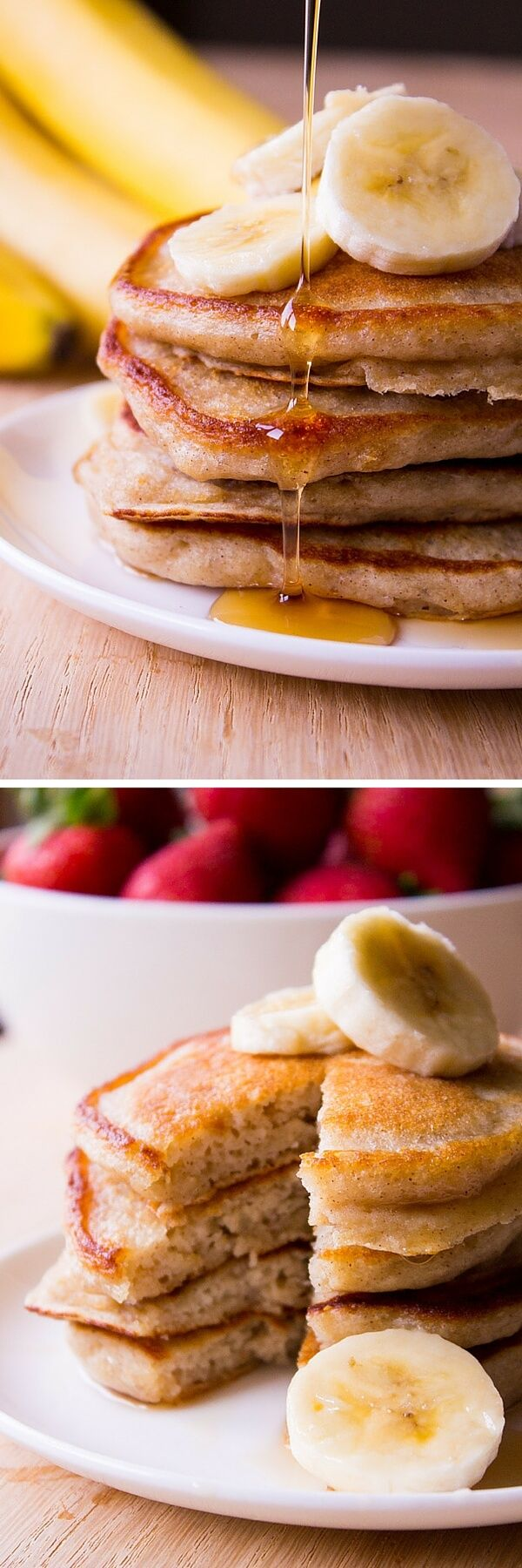 These light & fluffy banana pancakes are like banana bread in pancake form. Super moist, filled with vanilla & cinnamon flavor - Start your morning with this easy recipe!