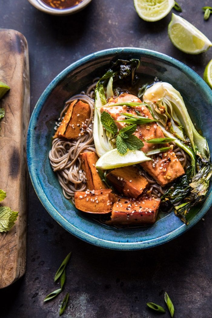 Roasted Sweet Potato and Salmon Soba Noodle Bowl: The perfect balance of noodles, broth, veggies, and salmon...and it's delicious! @halfbakedharvest.com