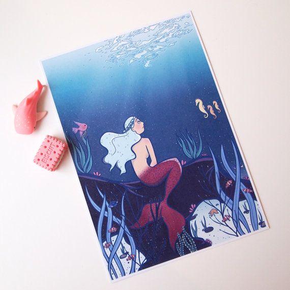 The Little Sea Maid fairy tale Art Print A5 size  by AdelaydeArt