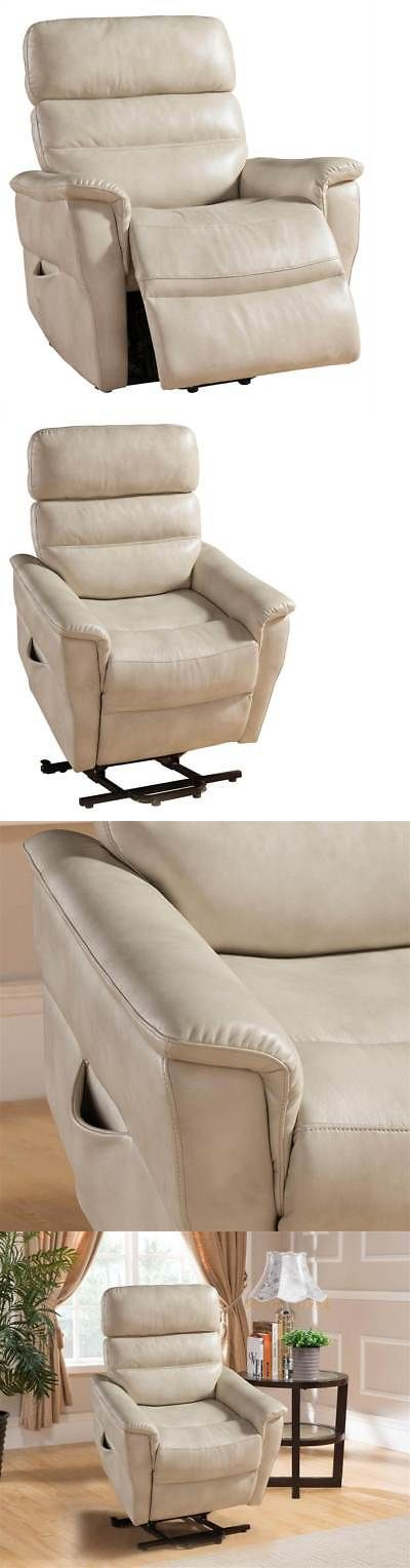 Electric Massage Chairs: Contemporary Power Reclining Lift Chair In Cream  [Id 3516294]