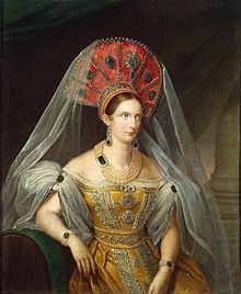 Alexandra Feodorovna (Charlotte of Prussia) - In 1814 her marriage was arranged for political reason with Grand Duke Nicholas Pavlovich of Russia, the future Tsar Nicholas I. They fell in love with each other and married in 1817. Upon her marriage, Princess Charlotte converted to Russian Orthodoxy, and took the Russian name Alexandra Feodorovna. Ideally matched with her husband, she had a happy marriage that produced a large family; seven children survived childhood.