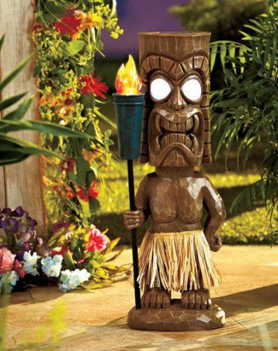 Outdoor Tiki Statue With Solar Light Torch Garden