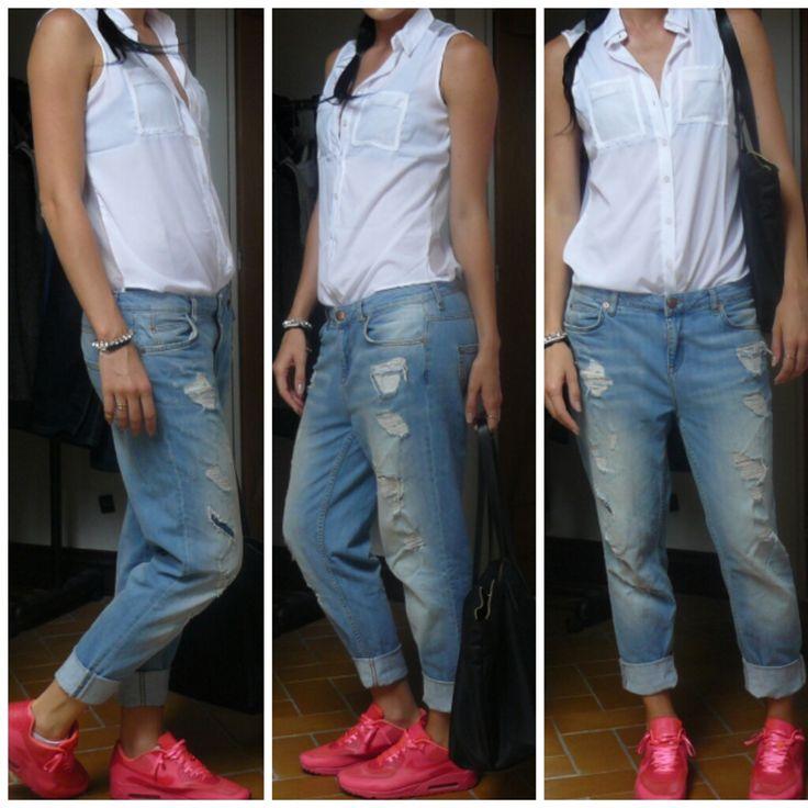 Neon AirMax, BF Jeans, Boyfriend Jeans