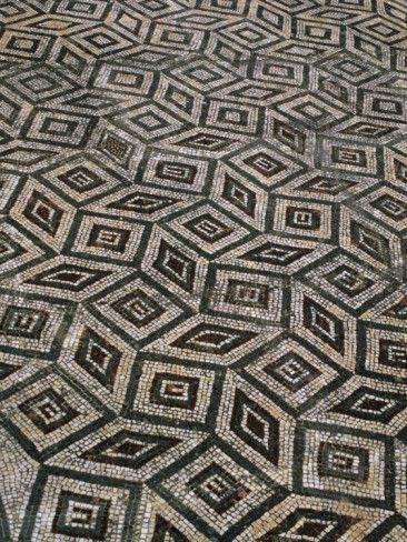 Mosaic Floor in Roman Ruins, Conimbriga, Portugal.