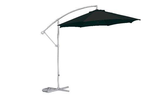 Podrá disfrutar de su terraza o jardín resguardado del sol a cualquier hora, gracias a este parasol con fabricado en poliéster color negro. Incopora un brazo articulado, para mayor comodidad.