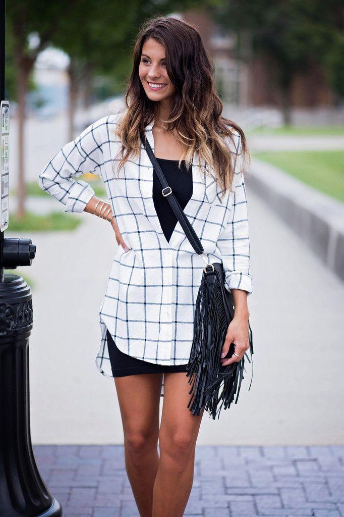 Driving Me Plaid Top, $46.00 #top #plaid #tunic #black #white #classic #highlow #singlethreadbtq #shopstb #boutique