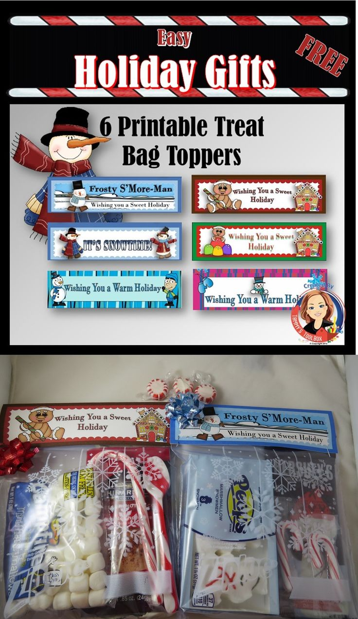 6 Free printable treat bag toppers for making party favors and Christmas or Winter Holiday gifts. Easy and inexpensive ideas for fun bag fillers are included. Great for students, teachers, volunteers, classrooms, kids parties, neighbors, or anyone.