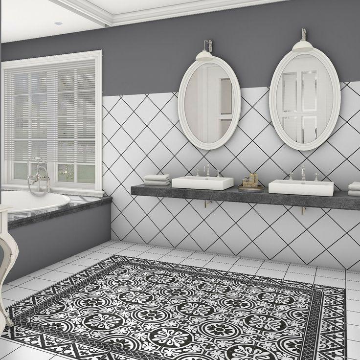 Seni 9 75 X 9 75 Porcelain Border Tile In Black Tile Floor Elitetile Tile Bathroom