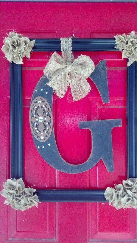 old pix frame hobby lobby letter left over burlap 10 front door makeover - Wire Wreath Frame Hobby Lobby