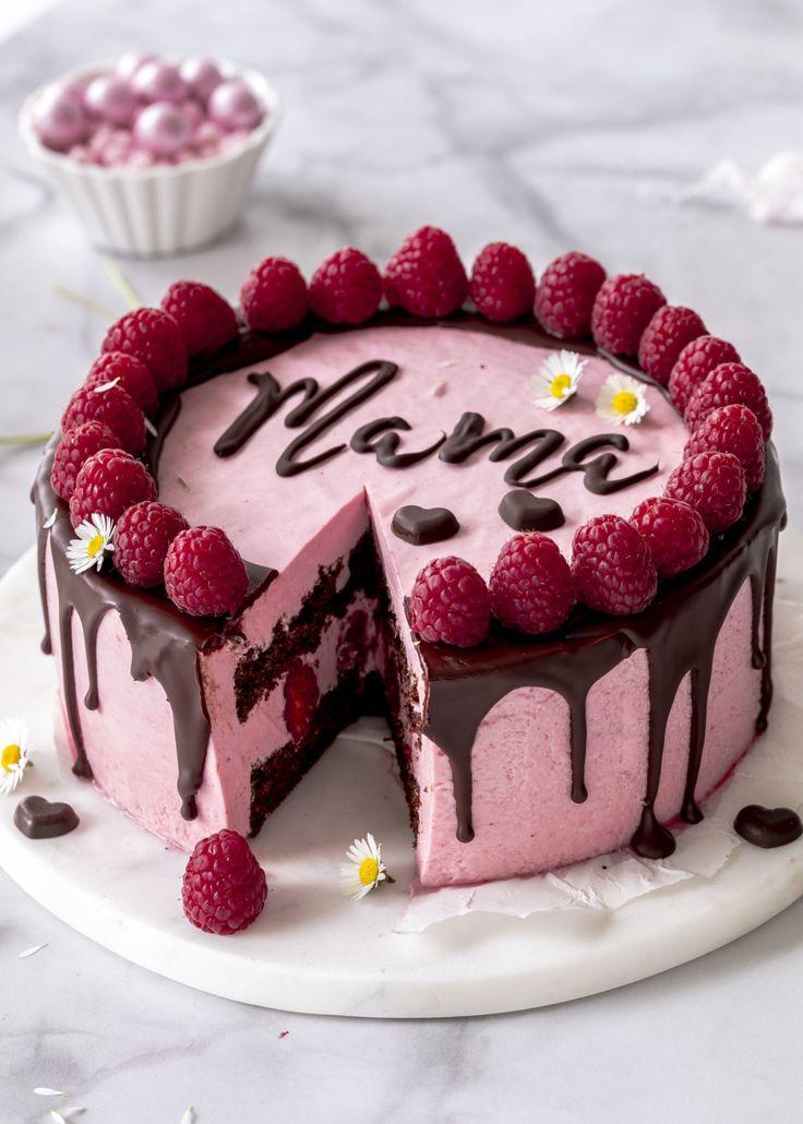 Rezept: Himbeermousse Torte mit Schokolade und Schriftzug zum Muttertag backen D…