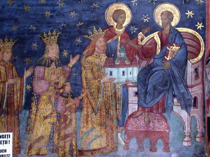 A painting of Stefan the Great and his family offering Voronet Church to Christ is inside Voronet Monastery in Bukovina, Romania. This prince ordered Voronet built in 1470 but the painting dates from 1547.