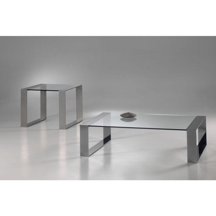 Glazen Salontafel Modena - Helder glas met RVS frame