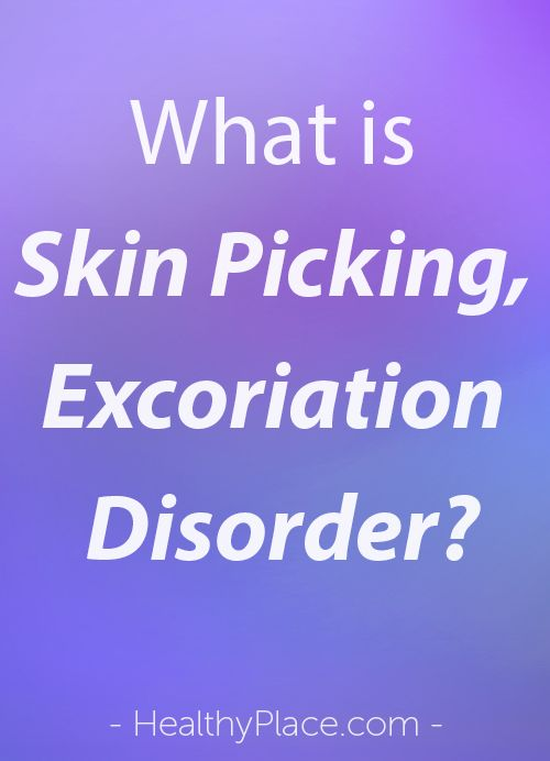 Trusted info on skin picking disorder aka excoriation disorder. Discover how picking skin becomes a disorder and what causes people to skin pick.   www.HealthyPlace.com