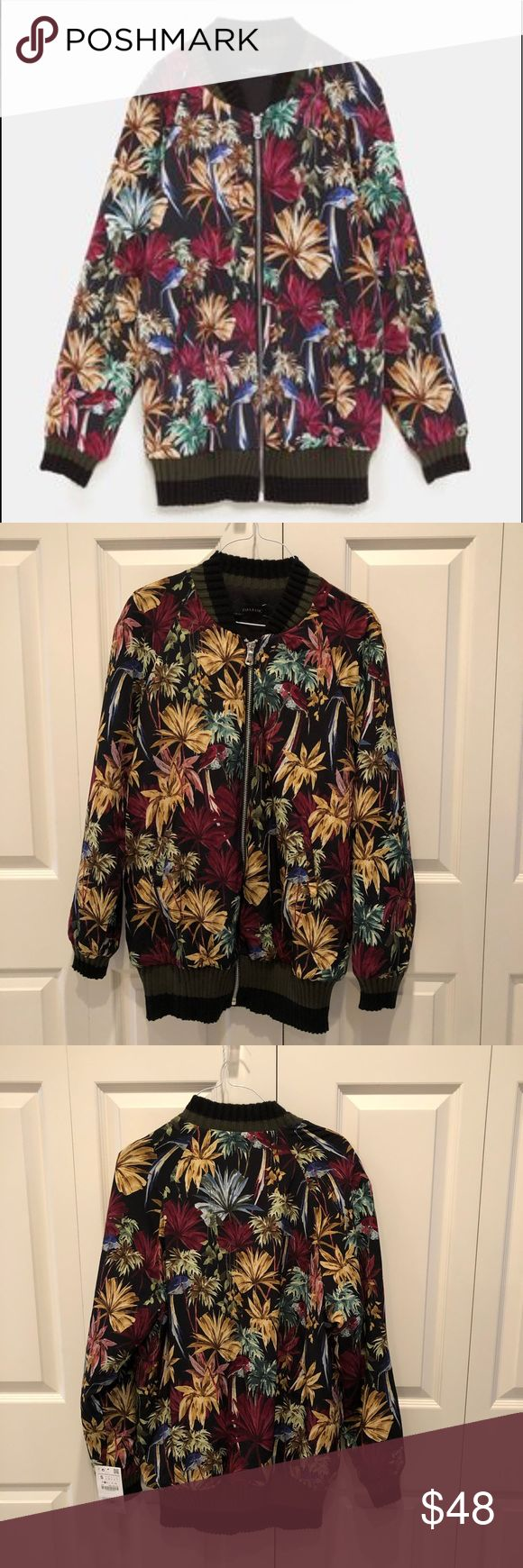Zara Floral print bomber jacket NWT Floral print bomber