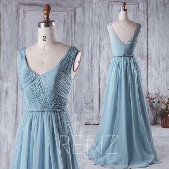 2016 Long Dusty Blue Bridesmaid Dress V Neck Chiffon by RenzRags