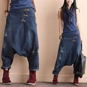 Women-039-s-Drop-Crotch-Denim-Casual-Pants-Cotton-Linen-Harem-Trousers-Floral-Q