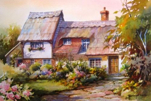Thatched Roof Cottage In England Watercolor Painting Of