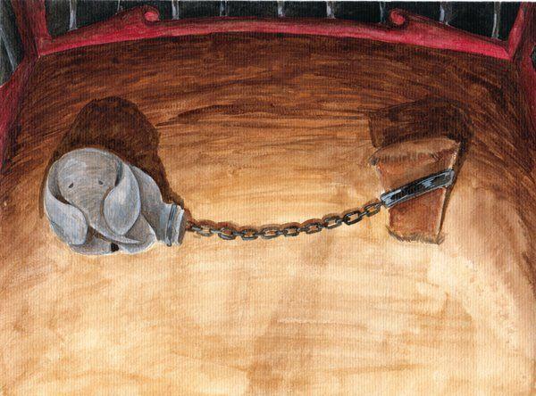 EL ELEFANTE ENCADENADO. Cuando yo era chico me encantaban los circos, y lo que más me gustaba de los circos eran los animales. También a mí como a otros, después me enteré, me llamaba la atención el elefante. Durante la función, la enorme bestia hacía despliegue de su peso, tamaño y fuerza descomunal... pero después de su actuación y hasta un rato antes de volver al escenario, el elefante quedaba ...sujeto solamente por una cadena que aprisionaba una de sus patas a una pequeña estaca…