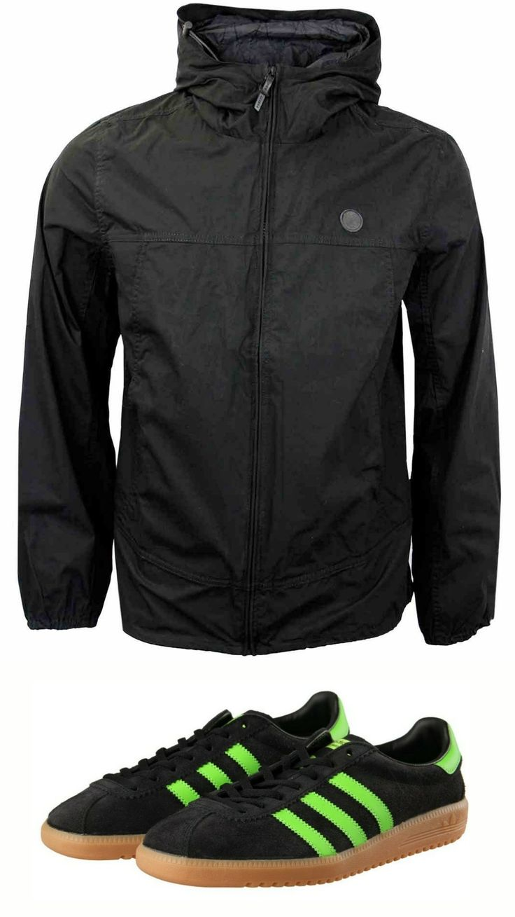 Perfect partners - Pretty Green 'Festival' jacket with adidas Bermuda in black/slime green