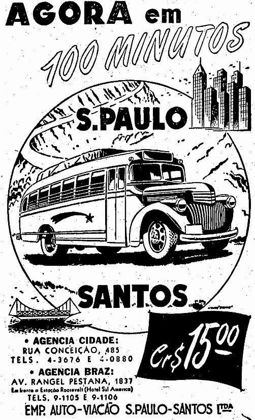 Propaganda de 1947 que anunciava a viagem da cidade de São Paulo à Santos em 100…