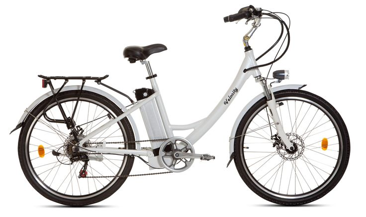 Velocity Zest eBike. electric bike with 18.2A/hr Samsung Lithium Ion battery, Shimano gears, Tektro disc brakes, aluminium frame, front and rear lights, mudguards, carrier